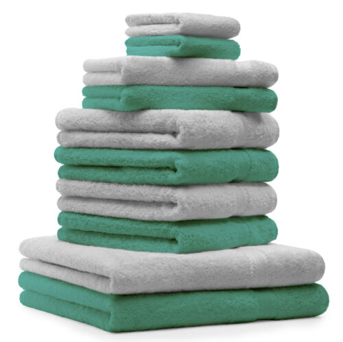 Betz 10-tlg Handtuch-Set CLASSIC 100/%Baumwolle Farbe smaragdgrün und silbergrau