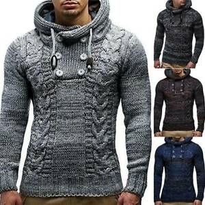 AU-Mens-Winter-Chunky-Knitted-Sweater-Hooded-Hoodie-Pullover-Jumper-Top-Knitwear