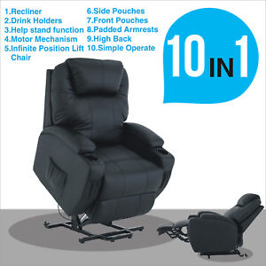Exceptionnel Image Is Loading Mecor Black Power Lift Chair Leather Recliner Armchair