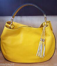 MADE In ITALY borsa Mano Tracolla Vera Pelle Colore giallo bag borse 9 leathear