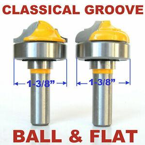 "2 pc 1/2"" Sh Top Bearing Classical Groove Flat & Ball Cove/Bead Router Bit Set S"