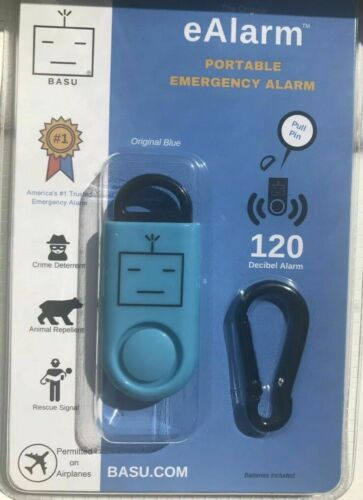 New BLUE BASU eAlarm 120 dB Portable Security Emergency Alarm Self Defense