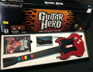 Guitar-Hero-Red-Octane-Gibson-Guitar-PS2-PSLGH-SG-Wired-Controller-Game-TESTED