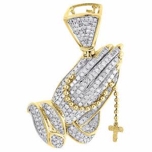 Praying Hands 10k Yellow Gold Men/'s Pendant Fine Jewelry