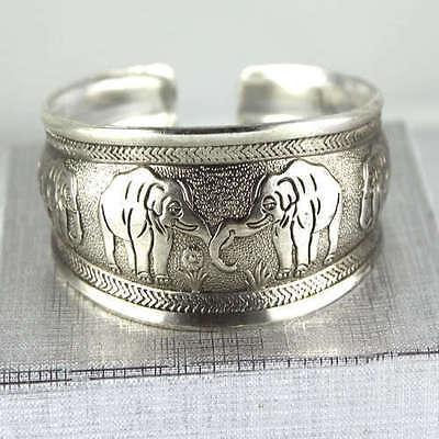 Classical Unique elephant Tibet Silver bangle Cuff Bracelet