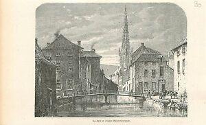 La-Dyle-Eglise-Sainte-Gertrude-Louvain-Sint-Geertruikerk-GRAVURE-OLD-PRINT-1880