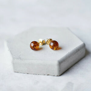 Baltic Amber Stud Earrings Gold Plated Silver Earrings Push Cognac Studs Gift