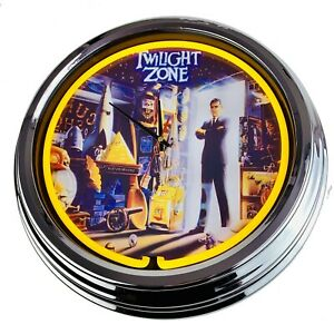 "N-0516 Wall Clock "" Pinball Twilight Zone Bally 1993 "" Neon Living Room Game"