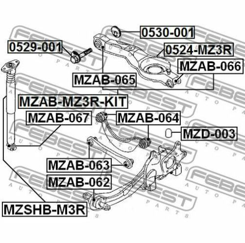 FEBEST Control Arm-//Trailing Arm Bush MZAB-066