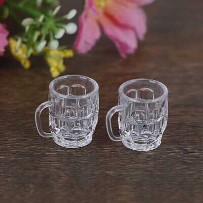 2Pcs 1:12 Dollhouse mini resin wine glass simulation drink cup model toys