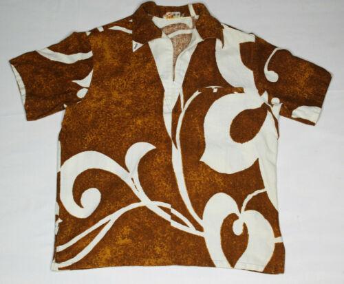 VTG Ionlani Half Zip Hawaiian Shirt M L Barkcloth