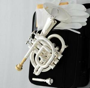 Professional Silver plated C Key Pocket Trumpet Horn Monel Valve 2Pc MOUTHPIECE