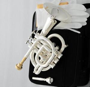 Professional Silver plated C Key Pocket Trumpet Horn Monel Valve 2Pc MOUTHPIECE