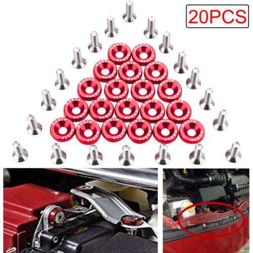 20pcs RED CNC Billet Aluminum Fender Washer Engine Bay Dress Up Kit US STOCK HOT