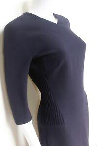 New-Victoria-Beckham-Navy-Ribbed-Pannel-V-neck-Dress-UK-10