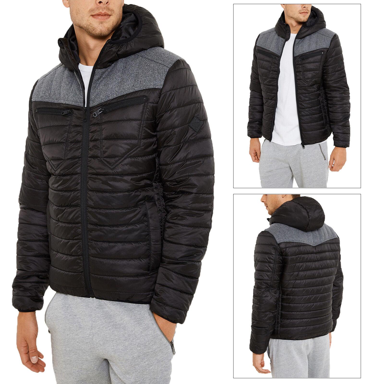 Threadbare Mens Designer Lightweight Quilted Rain Resistant Hooded Padded Jacket