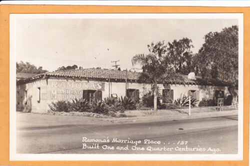 Real Photo Postcard Ramona Marriage Place San Diego CA
