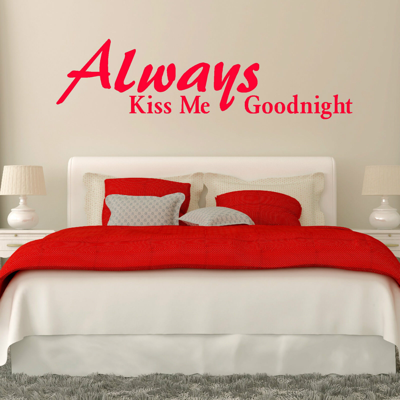 Always Kiss me Goodnight\'\' Wall Quote Bedroom wall Art Room ...