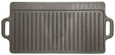 Kitchen Craft Cast Iron Double Sided Griddle Flat & Ribbed Grill Pan Skillet