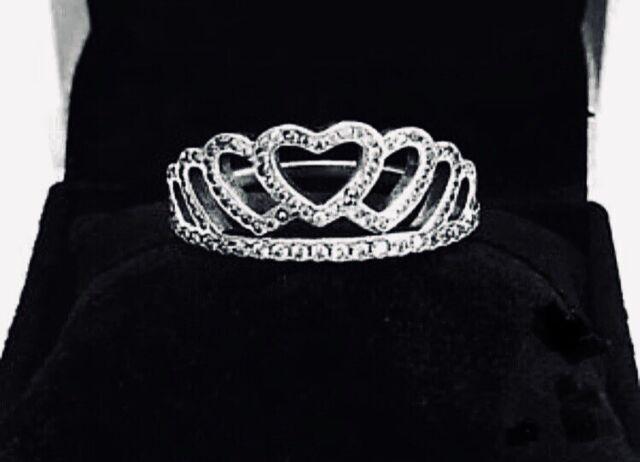 c965d54c331 PANDORA Womens Sterling Silver & Cubic Zirconia Hearts Tiara Ring 6 ...