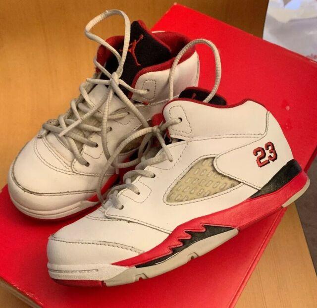 promo code 9a29f d4ae9 Nike Air Jordan 5 V Retro BG White/university Red/cement 440888 104 Size 7y