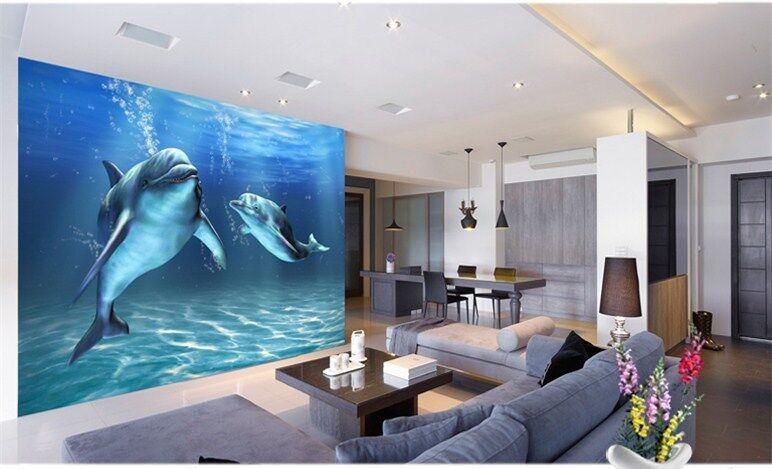 3D Zwei Delphine 73 Tapete Wandgemälde Tapete Tapeten Bild Familie DE | Am praktischsten  | Attraktives Aussehen  |