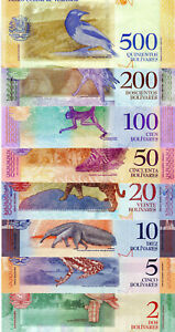Venezuela-2-5-10-20-50-100-200-500-Bolivares-soberanos-set-of-8-notes-2018-UNC