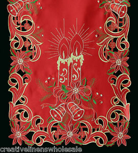 Holiday-Christmas-Poinsettia-Candle-Placemat-Table-Cloth-Runner-RED-GOLD-6727