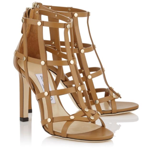 975 JIMMY CHOO Tan TINA 37.5 Caged Studded Sandals scarpe Heels