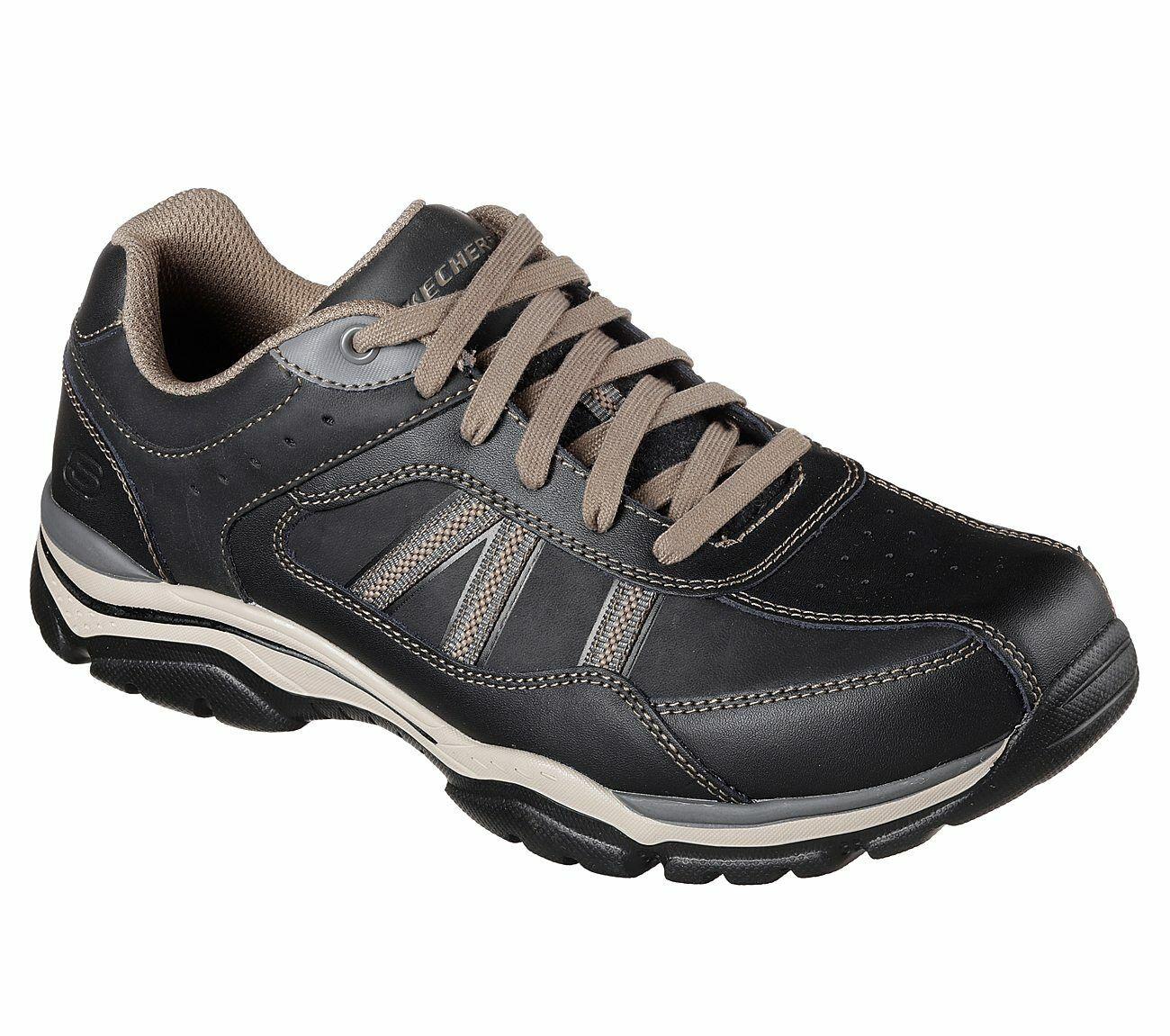 Skechers 65418EWW BKTP Negro Topo Hombre Cuero Casuales Zapatillas Con Cordones