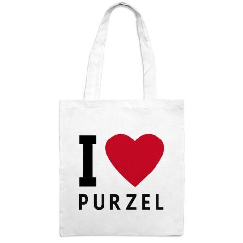 "Motiv /""I Love/"" Jutebeutel mit Namen Purzel"