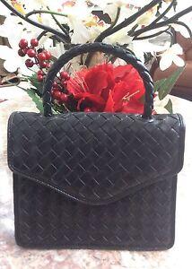 4f6ed5497f Bottega Veneta Olimpia Black Woven Leather top handle Handbag purse ...