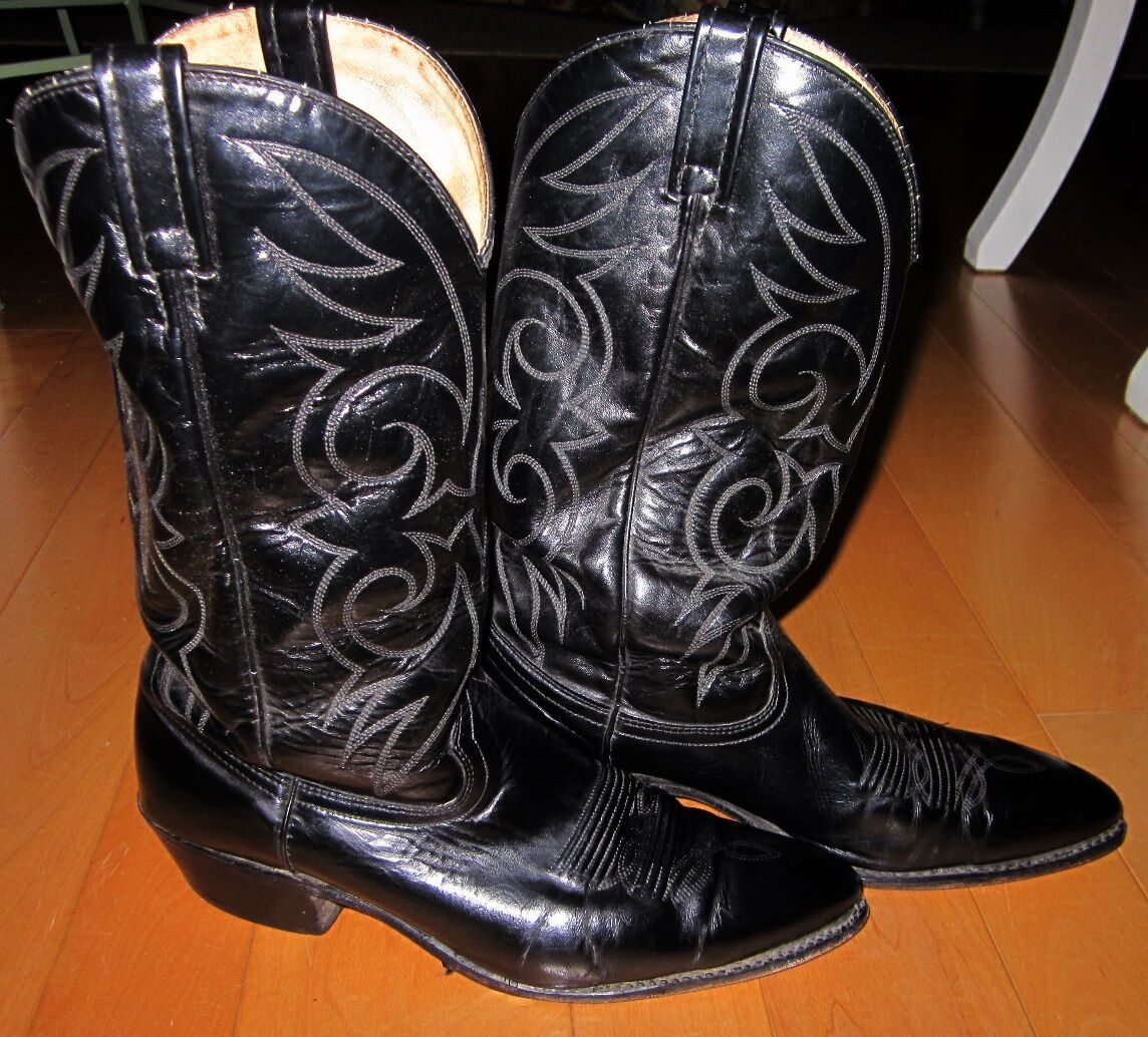 95b0ecf93b2 Mens Black Leather Western Cowboy Boots Made In In In USA 10.5D f5e529