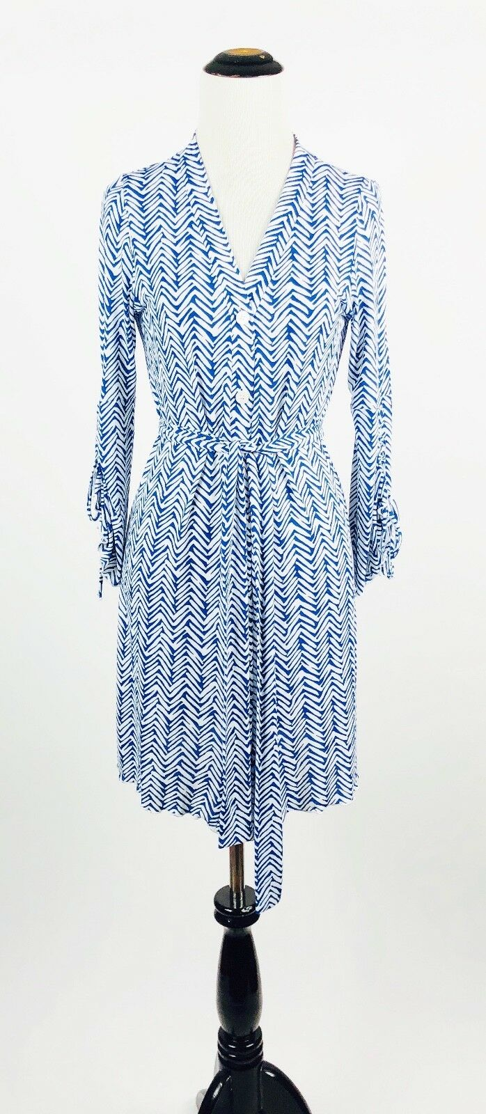 Letarte bluee White Button Front Belted Shirt Dress Size M