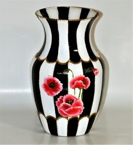 Hand Painted Vase With Poppies Black