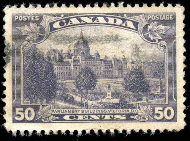 Used Canada 50c F-VF 1935 Scott #226 King George V Pictorial Stamp