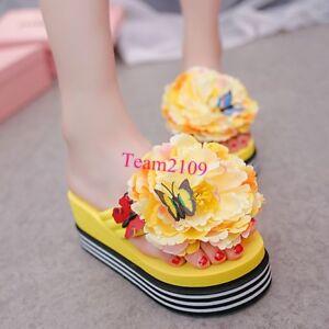 24342ccb48f517 Image is loading Women-Flower-Flip-Flops-Sandals-Platform-Wedge-Casual-