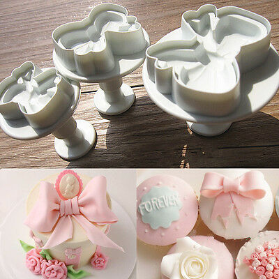 3Pcs Bow Plunger Sugarcraft Cake Cookies Decorating Fondant Icing Cutter Tools