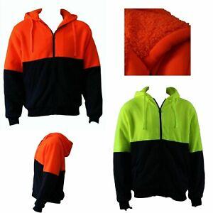 Hi-Vis-Safety-Workwear-Full-Zip-Thick-Winter-Sherpa-Fleece-Hoodie-Jumper-Jacket