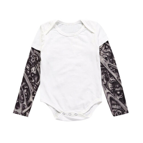 0-2T Newborn Baby Boy Tattoo Print Long Sleeve Patchwork Romper Bodysuit YU