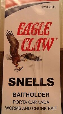 SZ 6 QTY 6 FREE SHIPPING EAGLE CLAW FISHING HOOKS DOUBLE SNELL