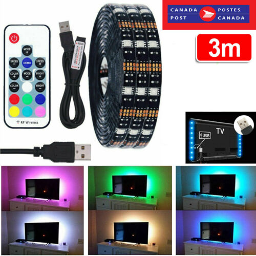 LED Strip Lights TV Backlight 3M RGB USB Powered Multi Colored CHANGING for TV