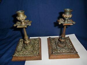 Period 100% Original Pair Of Arts & Crafts Bronze Candlesticks On Wooden Bases Art