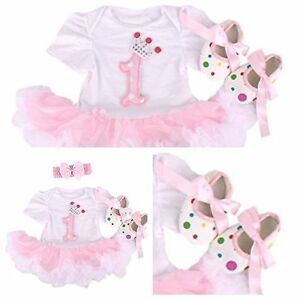 BABY-GIRLS-FIRST-1st-BIRTHDAY-OUTFIT-TUTU-SKIRT-with-SHOES-Frilly-Party-Dress