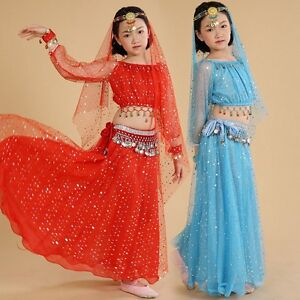 b120e0a39 Girl Belly Dancing Costume Indian Dancewear Kids Perform Show Outfit ...