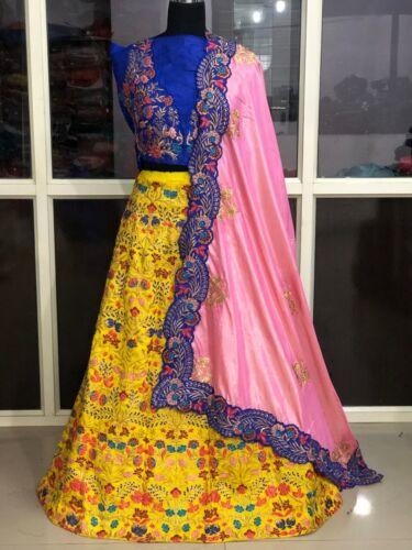 Details about  /Embroidery Work Yellow Lehenga Choli Indian Ethnic Lengha Chunri Sari Designer
