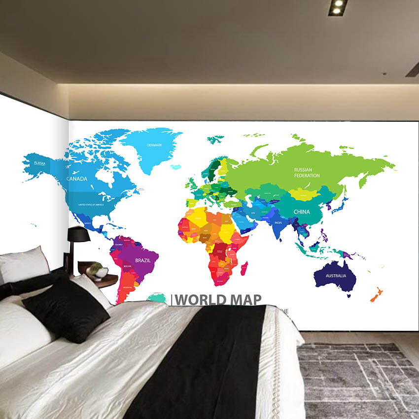 3D World Map Painting Paper Wall Print Wall Decal Wall Deco Indoor Murals