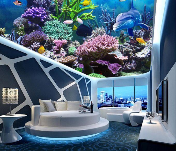 3D Aquatic Life Ceiling WallPaper Murals Wall Print Decal Deco AJ WALLPAPER GB