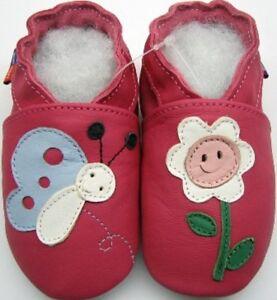 Minishoezoo-Botones-Fucsia-3-4-Nino-US10-Nina-Suave-Suela-Cuero-Zapatos-de-Bebe