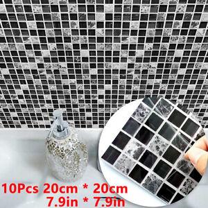10Pcs-20-20CM-Kitchen-Tile-Stickers-Bathroom-Mosaic-Self-adhesive-Wall-Decor-UK